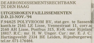 19941123 - Polyvroom - Failissement