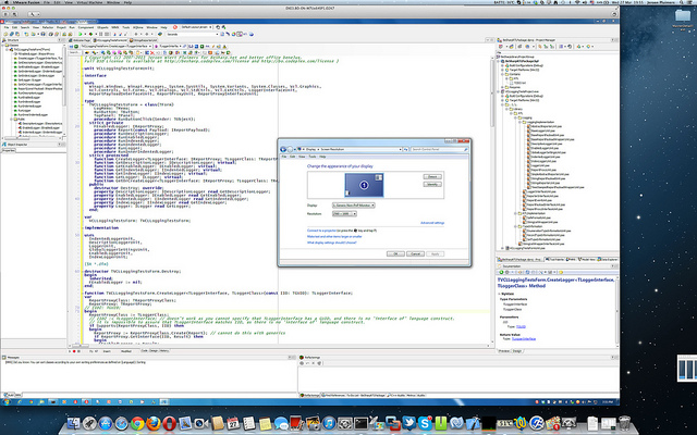 Delphi XE3 inside a Windows 7 VMware Fusion VM at 2560x1600 on a 15 inch Retina MacBook Pro at 2880x1800