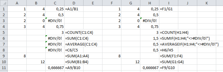excel how to find div 0
