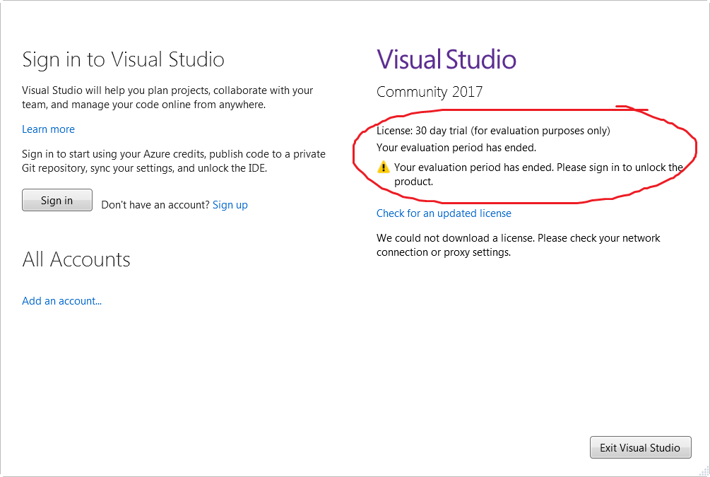 No, Visual Studio Community 2017 is not a 30 day trial – via