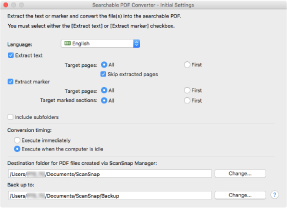 Searchable PDF Converter - Initial Settings