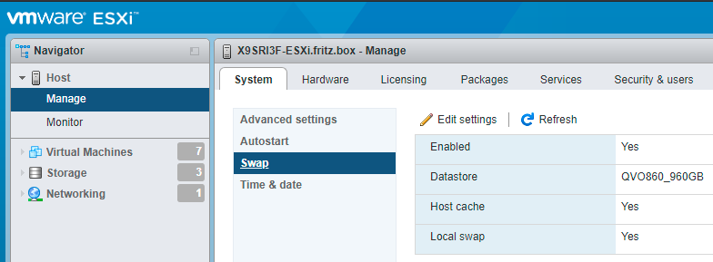ESXi 6.7: configuring host swap