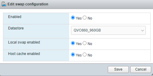 ESXi 6.7: edit host swap settings